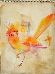Original Kunstwerk Fantasie Vogel Phoenix Gebäude Auf Feuer Von Mortimer Sparrow
