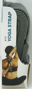 Evolve Yoga Strap Gray 6 Feet Machine Washable 100% Polyester Durable D-Ring #D6