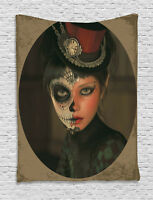 Sugar Skull Tapestry Antique Portrait Print Wall Hanging Decor