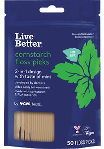 Live Better Cornstarch Floss Picks, Mint, 50 CT