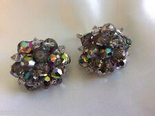 Vtg Laguna Purple Borealis Crystal beads Cluster silver tone clip on Earrings