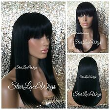Medium Length Straight Full Wig With Bangs Jet Black #1 Heat Safe Ok