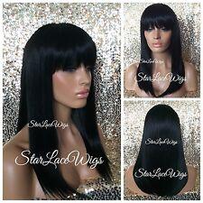 Medium Length Straight Full Wig With Bangs Jet Black #1 Heat Safe Ok