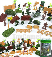 60 pcs Military Playset Plastic Toy Soldiers Army Men 1:36 Figures & Accessories