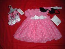 DISNEY MINNIE MOUSE DRESS BODYSUIT COSTUME W/SHOES & HEADBAND 12-18 MO. NEW W/T