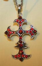 Lovely Rhombus Center Point Fleur de Lis Arm Ruby Red Rhinestone Cross Necklace