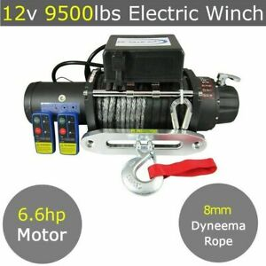 12V 9500lbs Electric Winch 8mm 30m Dyneema Synthetic Rope 9000lb 12000lbs 4X4