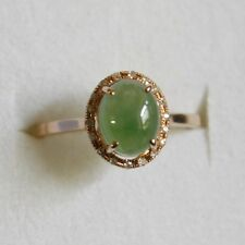 Certified Natural Genuine (A) Gorgeous Icy Green Jadeite JADE Diamond 18K Ring