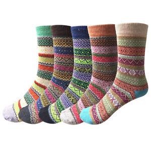 5 Paar Damensocken Winter Wolle Bunte Gemusterte Stricksocken warm Socken PA P
