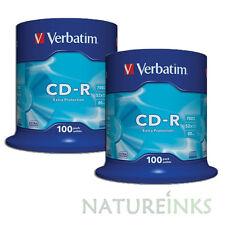200 Genuine Verbatim Extra Protection 43411 CD-R 52x 700MB 80 min Blank CD Discs