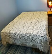 """Handmade Stunning Crocheted Ivory Afghan Throw Prestige Condition72""""X96"""" Queen"""