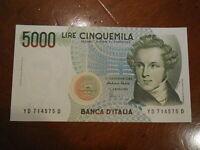 Banconota da 5.000 lire FDS  fior di stampa Bellini