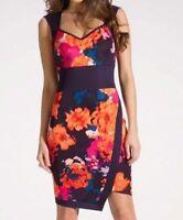 Lipsy Bodycon Pencil Dress Size 12 Floral Oriental Navy Blue Orange Wedding Xmas