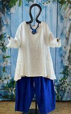 MEXXOO DESIGN MONE Big Shirt A-Form mit Taschen Leinen Weiß (1298) EG