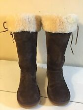 "$230 UGG Women's ""Upside"" Leather Shearling Sheepskin Lace Up Tall Boots Sz 7"