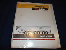 GROVE GMK 6300 CRANE LOAD CHARTS CATALOG BOOK MANUAL
