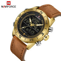 NAVIFORCE Mens Sports Watches LED Military Leather Analog Quartz Wristwatch 9144