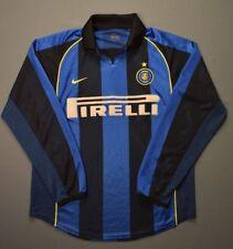 4.5/5 INTER MILAN 2001~2002 ORIGINAL FOOTBALL HOME JERSEY SHIRT RARE LONG SLEVEE