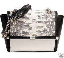 DIANE VON FURSTENBERG Tasche/Bag Mini Karung-Embossed Leather Black&White NEU