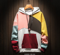 Mens Hooded Color block Sweater 95%Cotton Pullover Coat Korean Casual Jacket Top