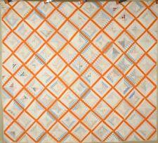 EYE CATCHING Vintage 1890's Lattice Antique Quilt ~Shirting and Orange Fabrics!