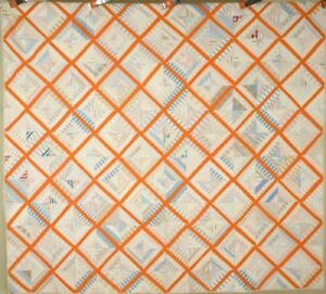 EYE CATCHING Vintage 1890's Lattice Antique Quilt ~Shirting and Orange Fabrics!