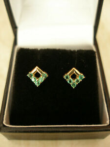 PAIR OF 9 CARAT GOLD EMERALD FANCY STUD EARRINGS MADE IN UK BRAND NEW IN BOX