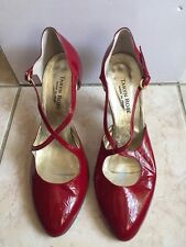 TARYN ROSE Women's Classic Red Patent Leather Pumps ~ Strap Detail ~ Sz 8.5M