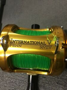 PENN International V 50 VSW 2 Speed Reel Shimano Rod with AFTCO Butt