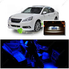 For Subaru Legacy 2004-2014 Blue LED Interior Kit+ Xenon White License Light LED