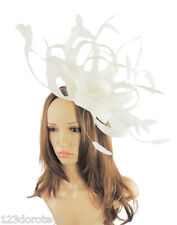 Large White Fascinator for Ascot, Weddings, Derby,Mother of the Bride P4