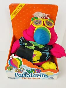 "Vintage 1987 Fisher Price The Wild Puffalumps Pink Tucan 14"" Plush Stuffed Toy"