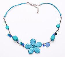 Glitzer türkis Blume & Pailletten auf String Boho Glam Halskette passt (zx44)