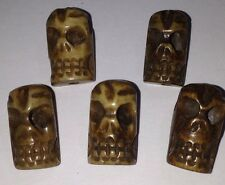 Carved Bone Skull Beads, 20 Beads. Highly Detailed Carving Rare Unique & Exotic!