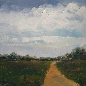 "Original Landscape, Impressionism, ""Down the Old Dirt Road"",  Michele Helders"