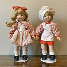 2 Vintage 14.5� Red White Boy Girl Chef Campbell Style Porcelain Dolls