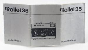 Genuine Original Rollei 35 Instruction Manual - English & German (silver)