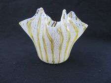 Murano Italy Ribbon Glass Venetian Latticino Handkerchief Yellow, White & Gold