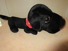 "Artlist Collection The Dog 16"" Black Lab Plush Red Collar Big Head Small Body"
