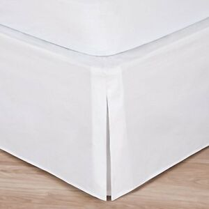 """Cal King White Bed Skirt: Tailored Pleat, 14"""" Drop"""