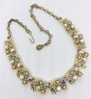 Signed CORO AB Rhinestone and Faux Pearl Necklace Gold Tone Vintage Jewelry