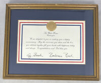 President George W. Bush & Barbara Bush Signed & Seal Marriage Anniversary Gift
