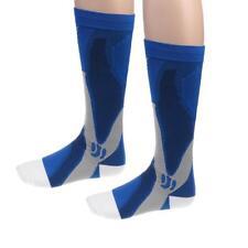 Nylon Anti Slip Breathable Athletic Knee High Socks Soccer Sports Rugby Blue
