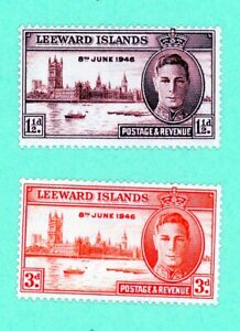 Leeward Islands 2 stamps, SC 116 - 117,Peace Issue CD 303, 1946, MPH