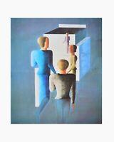 Oskar Schlemmer Vier Figuren und Kubus 1928 Poster Kunstdruck Bild 71x56cm