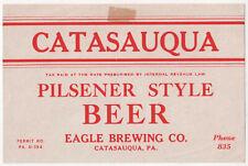 Pa_Catasauqua_Eagle Brewing_Pilsener Style_Beer_U_Permit_Irtp_ Excellent Unused_