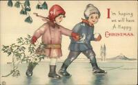 Christmas MEP Margaret Evans Price Kids Ice Skating c1915 Postcard