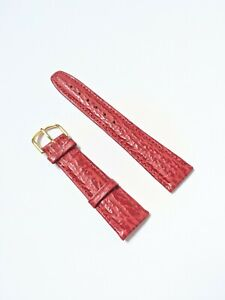 Mens Vintage New Old Stock Shark Red Grain Calf Leather Watch Strap - 20mm