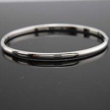18k White Gold Filled Charm 4mm Bangle Women's  Bracelet 60mm GF Fashion Jewelry