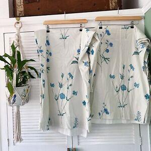 Curtains Blue Wild Flower W46 X L54 Inch Pencil Pleat Lined Cottage Cotton